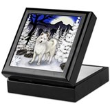 WHITE AKITA DOG WINTER MOON Keepsake Box