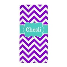Purple Teal Chevron Personalized Beach Towel