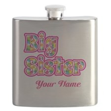 Big Sister Pink Splat - Personalized Flask
