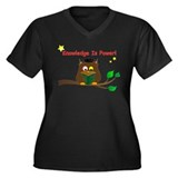 Wise Owl Women's Plus Size V-Neck Dark T-Shirt