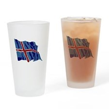 Iceland Flag (Distressed) Drinking Glass