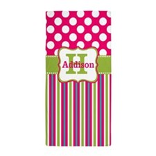 Pink Green Dots Stripe Personalized Beach Towel