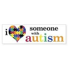 I HEART Someone with Autism - Bumper Car Sticker