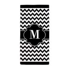 Black and White Chevron Custom Monogra Beach Towel
