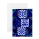 Blue Quilt Watercolor Greeting Card