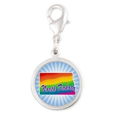 Rainbow State Silver Round Charm