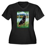 Birches & Rottweiler Women's Plus Size V-Neck Dar