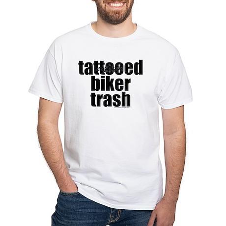 Tattooed biker trash men 39 s shirt by gotta have it for Tattooed white trash t shirt
