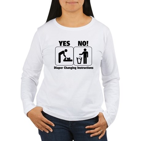Diaper Changing Instructions Women's Long Sleeve T