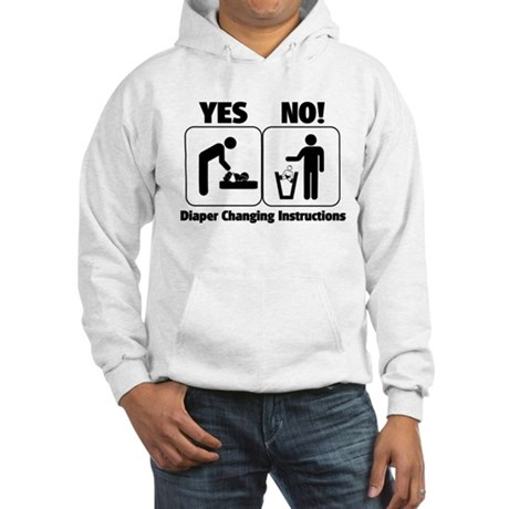 Diaper Changing Instructions Hooded Sweatshirt