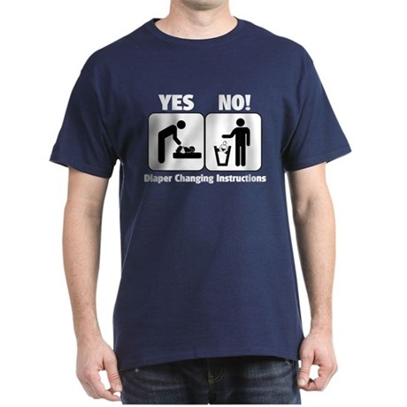 Diaper Changing Instructions Dark T-Shirt