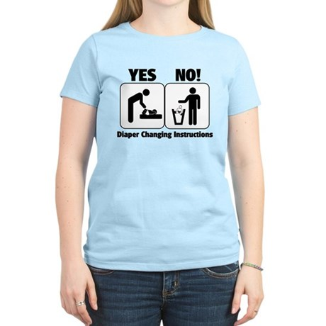 Diaper Changing Instructions Women's Light T-Shirt