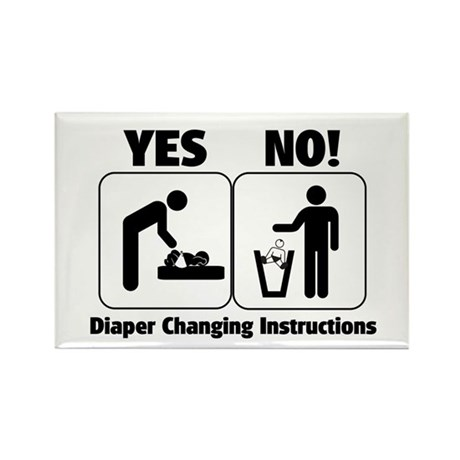 Diaper Changing Instructions Rectangle Magnet (100