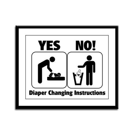 Diaper Changing Instructions Framed Panel Print