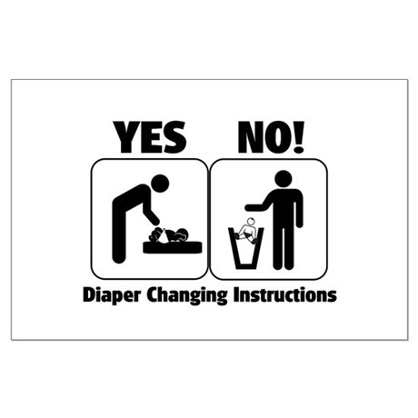 Diaper Changing Instructions Large Poster
