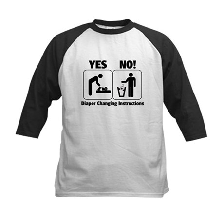 Diaper Changing Instructions Kids Baseball Jersey