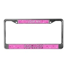 Pink Polka Dot Papillon License Plate Frame