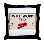 RED STAPLER HUMOR Throw Pillow
