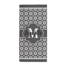 Gray Decorative Quatrefoil Custom Mono Beach Towel