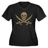 Vintage Pirate Women's Plus Size V-Neck Dark T-Shi