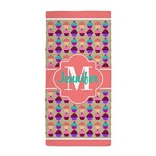Coral Trim Personalized Cupcake Patter Beach Towel