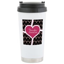 Personalized Pink Heart Travel Coffee Mug