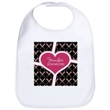 Personalized Pink Heart Baseball Bat Pattern Bib