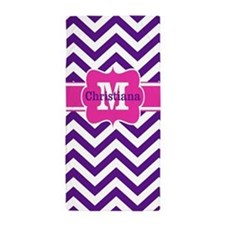 Purple Pink Chevron Personalized Beach Towel