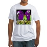 Two Parrots I Love You Fitted T-Shirt