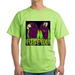 Two Parrots I Love You Green T-Shirt