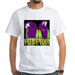 Two Parrots I Love You White T-Shirt