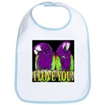Two Parrots I Love You Bib