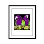 Two Parrots I Love You Framed Panel Print