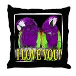 Two Parrots I Love You Throw Pillow