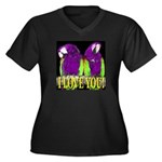 Two Parrots I Love You Women's Plus Size V-Neck Da