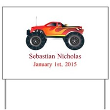 CUSTOM Monster Truck with Baby Name Date Yard Sign