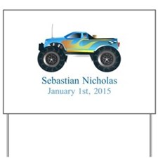 CUSTOM Monster Truck w/Baby Name Date Yard Sign