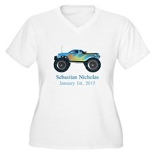 CUSTOM Monster Truck w/Baby Name Date Plus Size T-