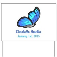 CUSTOM Blue Butterfly Baby Name Date Yard Sign