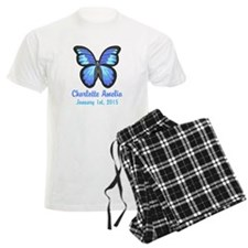 CUSTOM Blue Butterfly w/Baby Name Date Pajamas
