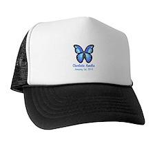 CUSTOM Blue Butterfly w/Baby Name Date Trucker Hat