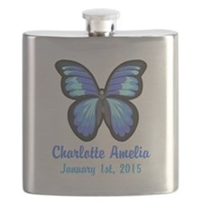 CUSTOM Blue Butterfly w/Baby Name Date Flask