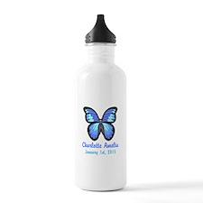 CUSTOM Blue Butterfly w/Baby Name Date Water Bottl