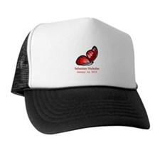CUSTOM Red Butterfly Baby Name Date Trucker Hat