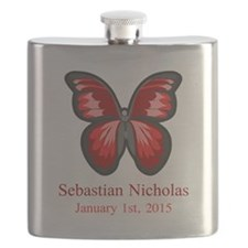 CUSTOM Red Butterfly Name Date Flask