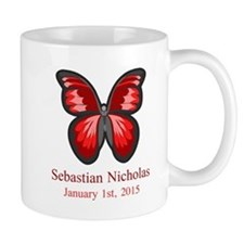 CUSTOM Red Butterfly Name Date Mugs