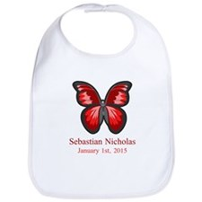 CUSTOM Red Butterfly Name Date Bib