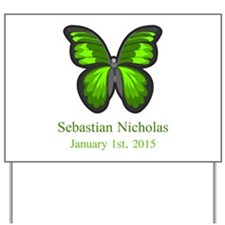 CUSTOM Green Butterfly w/Baby Name Date Yard Sign