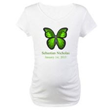 CUSTOM Green Butterfly w/Baby Name Date Shirt