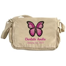 CUSTOM Pink Butterfly w/Baby Name Date Messenger B